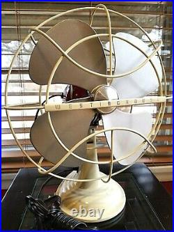 Vintage 1950's Westinghouse Electric Fan Art Deco, Strawberry Cream, Refurbished