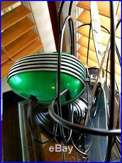 Vintage 1950's Westinghouse Electric Fan Art Deco, emerald color, Refurbished