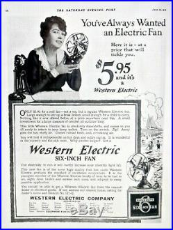 Vintage Antique 1916 Western Electric Six Fan RARE 6 Inch Size Works LOOK & READ