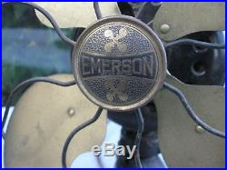 Vintage Antique Brass Blades EMERSON 29646 12 3 Speed Tilting Oscillating FAN