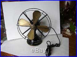Vintage Antique DIEHL 1051 Brass Blade 10 1/2 Electric Fan