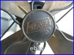 Vintage Antique Desk Table Top Fan Energex 5260 Brass Cast Iron