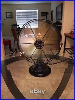 Vintage Antique Diehl 1920s 10 in oscillating fan With brass blades (Restored)