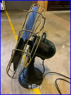 Vintage Antique Emerson Electric Cast Iron Black Fan Four Metal Blades
