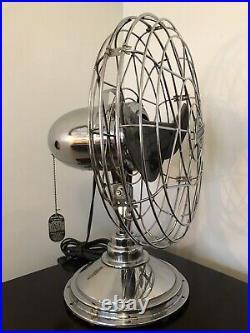 Vintage Antique Freshnd Aire Model 14 Chrome Fan With Bakelite Blades