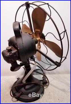 Vintage Antique GE Brass Oscillating Variable Speed Table Fan