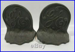 Vintage Antique Rare Pair Of Cast Brass Ge General Electric Bookends