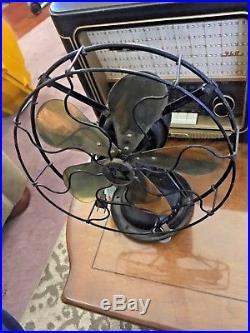 Vintage Antique Robbins & Meyers Electrical Fan With Brass Blades 10 Fan