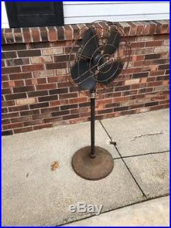 Vintage Antique Robbins & Myers 3 Speed Pedestal Floor Oscillating Fan 15 Blade