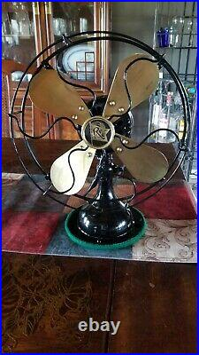 Vintage Antique Robin's and Myers 10 inch Brass Blade Fan