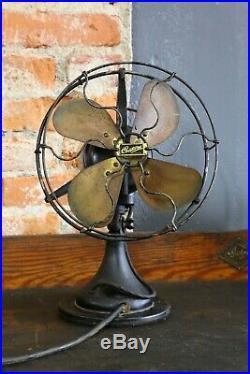 Vintage Century Brass blade Fan Antique Old industrial electric desk fan cage