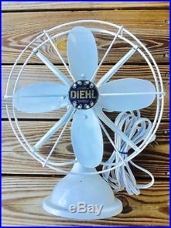 Vintage Diehl Desk Fan Full Working Order Antique