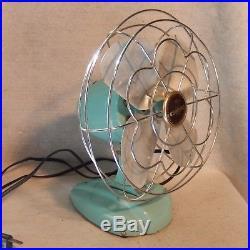 Vintage ESKIMO Chrome Aqua Table Fan 9 Antique WORKS Blue Teal Retro Bullet