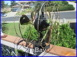 Vintage Fan Antique Ge Kidney Fan Turned Double Side Partner Fan Brass Blade Fan