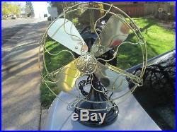 Vintage Fan Antique Ge Kidney Fan With Bronze Gear Box Antique Brass Blade Fan