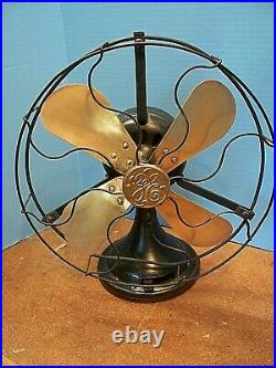 Vintage Ge 12 1920's 3-speed Brass Blade Fan Auu 34017
