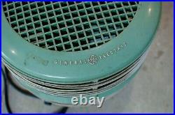 Vintage Green GE Hassock Round Floor Fan Antique USA Foot Stool Fan works