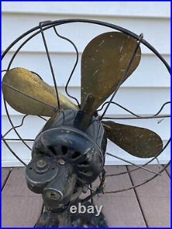 Vintage Peerless Brass Blade Antique Fan Early 1900's Still Runs