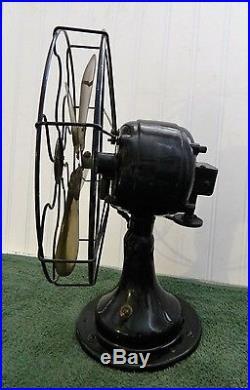 Vintage Peerless Brass Blade Electric Oscillating Fan Antique