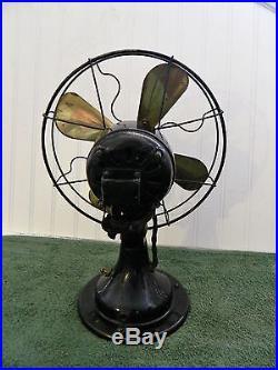 Vintage Peerless Brass Blade Electric Oscillating Fan