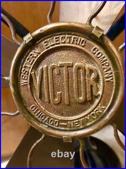 Vintage Victor 1893 Antique Brass Fan, AC Fan motor, Western Electric. Co