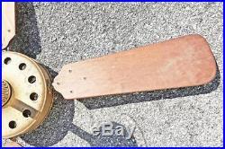 Vintage WESTINGHOUSE CEILING FAN brass wood blade industrial sidewinder antique