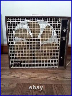 Vintage Yayre Pilot Light 3 Speed Metal Box Fan Blows 2 Ways 7 Blades