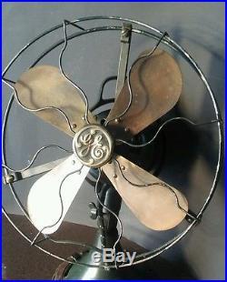 Vintage antique GE 2 Star 12 inch brass blade fan 3 speed all original