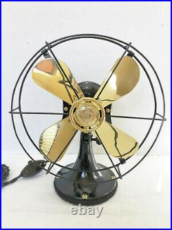 Vintage antique1919 9 GE Whiz All Cast Electric Fan Brass Blade Custom Cage