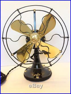 Vintage antique1919 GE 9 in Whiz Fan Electric W Brass Blades & cast iron base