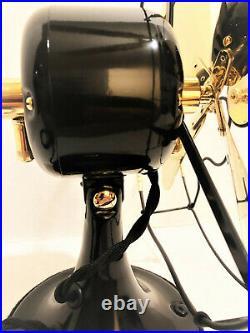 Vintage antique1920's 9 GE Whiz Stationary Electric Fan Brass Blade Restored