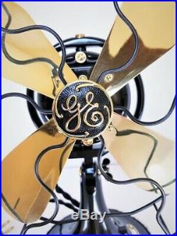 Vintage antique1920s GE 9 Oscillating Fan Brass Blades Cast Ring Restored L@@K