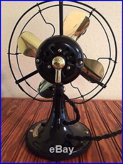 Vintage ge 1920 9inch Whiz Fan Restored brass blades and brass trim Antique