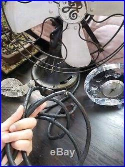 Vtg Antique GE General Electric Original AOU Brass Blade Fan 3 Speed Oscillating
