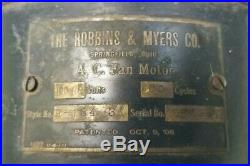 Vtg Antique Robbins & Myers A. C. Fan Style R-134031 Brass Blades Cage 12 Works
