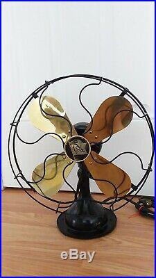 Vtg Antique Robbins & Myers Electric Brass Blade Fan 3 Speed Oscillating 4504