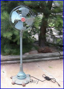 Vtg GE General Electric Vortalex Pedestal Floor Standing Fan Steampunk Deco