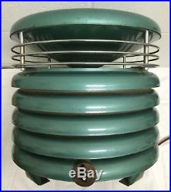 Vtg MID Century Modern Kisco Circulair Hassock Floor Fan Aqua Green Metal Works