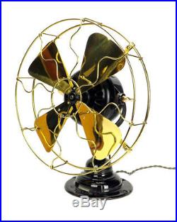 WESCO SUPPLY CO 12 Desk Fan TYPE 53646 Brass Bladed Guard Emerson Antique
