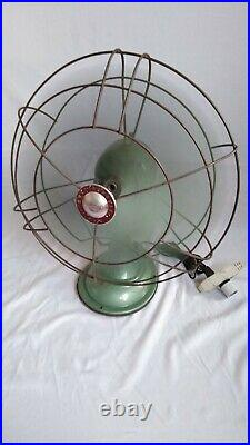 WESTINGHOUSE Vintage 1950'S Oscillating Fan 16SD2 Green Large Steampunk