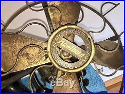 Western Electric Brass Fan Old Motor 12 Antique Vintage Original Wall Mount