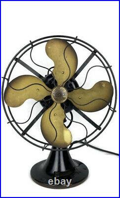 Working Antique Emerson Brass Blade 1920 Fan Oscilating Fan 29646